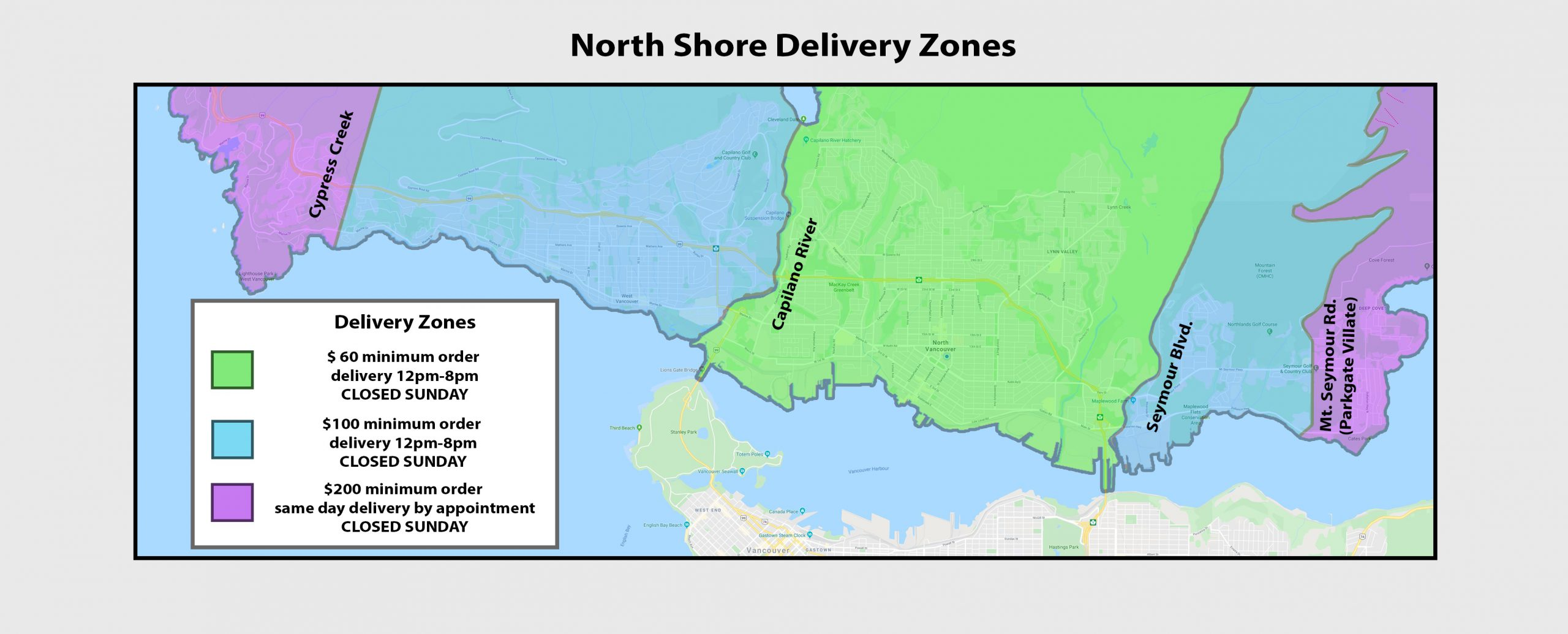 north vancouver weed delivery zone map